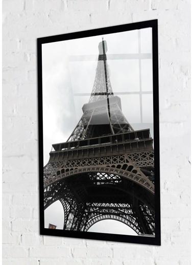 Chic Life Chic Life Siyah Beyaz Eyfel Kulesi Cam Tablo Siyah
